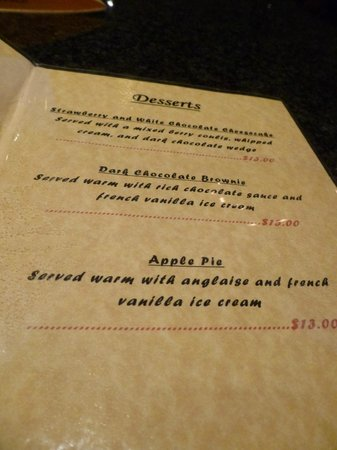 Porto Bello Bar & Grill : Dessert Menu - no room though!