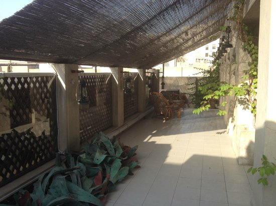 XVA Art Hotel : Covered patio outside of our room.