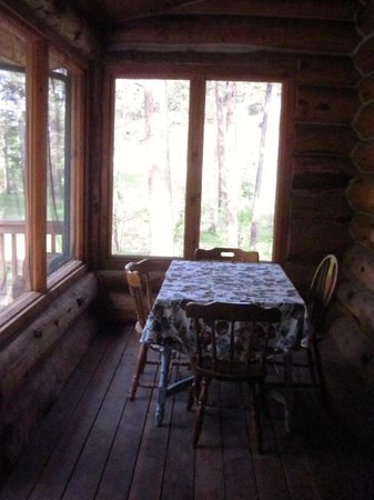 Hillside Country Cabins: #18 Silver Mountain Lodge screened-in rear patio