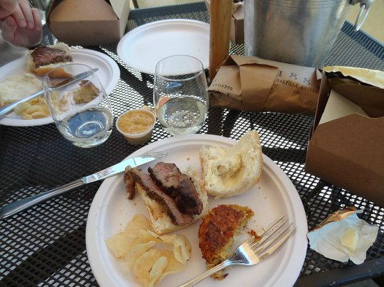 Oakville Grocery Company : makeshift picnic with leftover steak from the night before, crab cakes, ice bucket for wine, chi