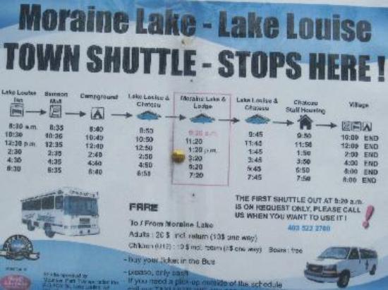 Moraine Lake shuttle sign
