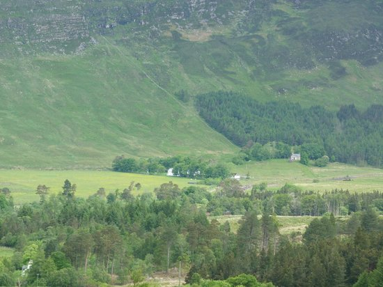 Hartfield House Applecross: View of hostel from the start of the Bealach Na Ba Mountain Pass