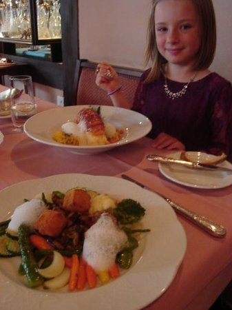 Old Swiss House: Vegetarian plate and rock lobster
