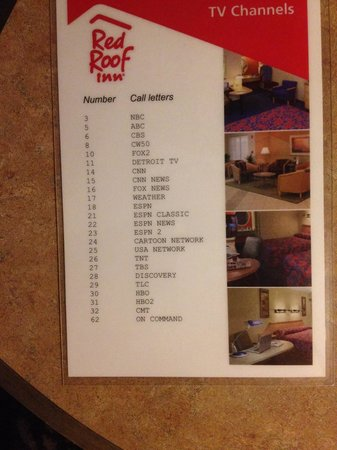 Red Roof Inn Farmington Hills: Poorest channel selection of any motel I have ever stayed at. Great selection for a sports fan t