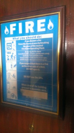 Britannia Hampstead Hotel: fire notice with no legible escape route or assembly point