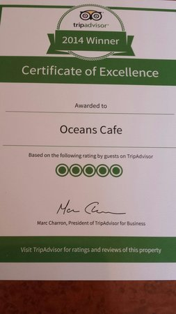 Oceans Cafe: Thank you to everyone for your lovely reviews that helped us achieve this reward