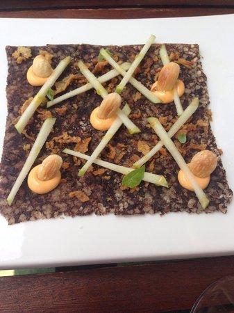 Casa rePepe Marbella: Black Rice Pudding carpaccio