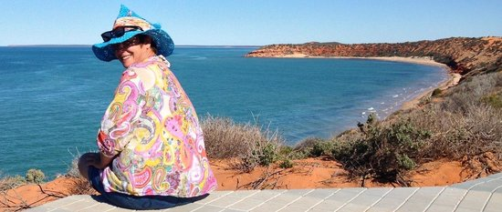 Wula Guda Nyinda Eco Adventures: 'Aaaaaah the serenity' Phyllis from Geraldton, in W.A enjoying the sights at Skipjack Point