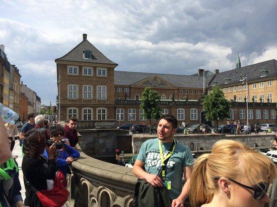 Copenhagen Free Walking Tours: Roger's speech on a bridge.
