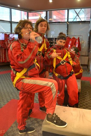 Edge Walk at the CN Tower: Wife and daughter plus friend awaiting the edgewalk