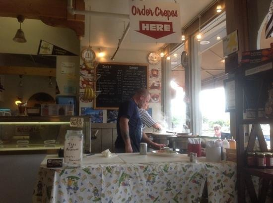 making the crepes at Crepes of Brittany
