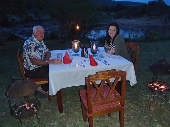 Karen Blixen Camp: Dinner by the river