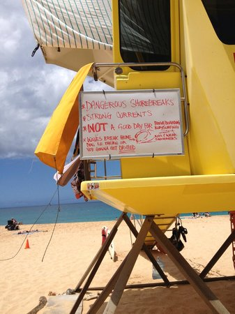 Makena Beach: Read the boards! listen to the lifeguards!!