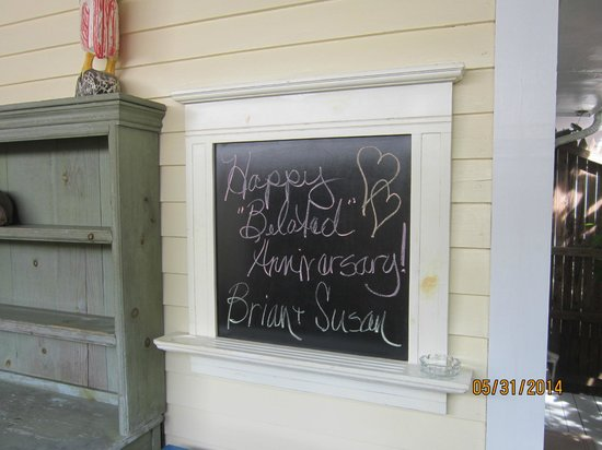 Tropical Inn: Blackboard announcement of our anniversary