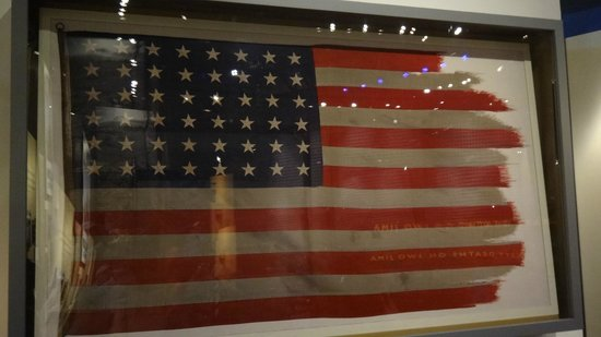 Mount Suribachi flag from Iwo Jima, National Museum of the Marine Corps, April 2014