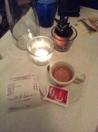 Ristorante Accademia: Espresso e conta