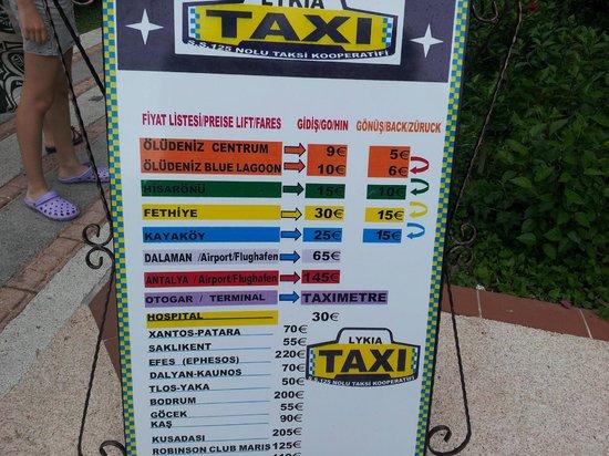Liberty Hotels Lykia: Цены такси