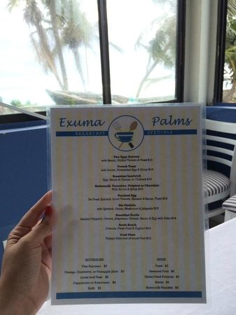 Exuma Palms Hotel: Breakfast Menu