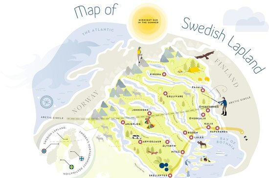 The Map Of Swedish Lapland Picture Of Lapland Sweden Sweden - Swedish map