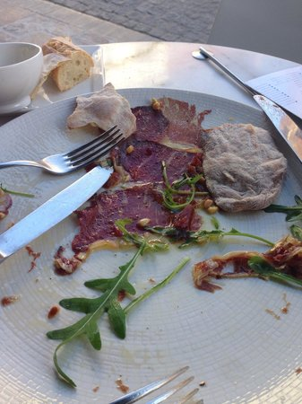 Rock Fort: Aged beef carpaccio with olive oil and pine nuts. Very nice.