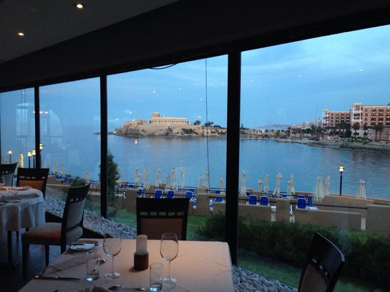 Shows a view of the sea from Caviar and Bull restaurant