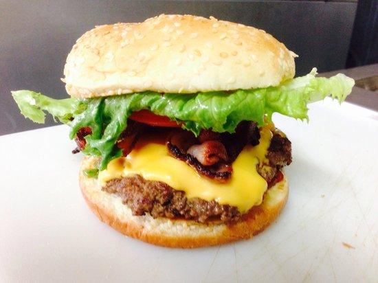 Big D's Burger Shack: Regular burger with cheese and bacon. The cowboy burger is bigger!