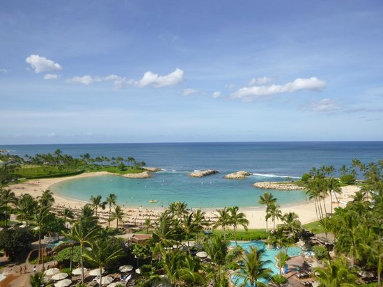 Aulani, a Disney Resort & Spa: View of Lagoon from our balcony