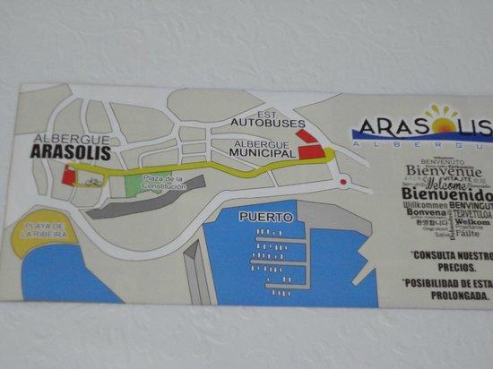 Albergue Arasolis: Mapa(200m del BUS en la calle principal)