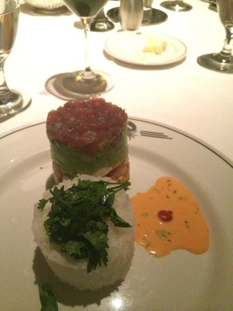 Truluck's Seafood, Steak and Crab House : Tuna tartar tower that has fresh jumbo lump crab on the bottom layer.  Delish!