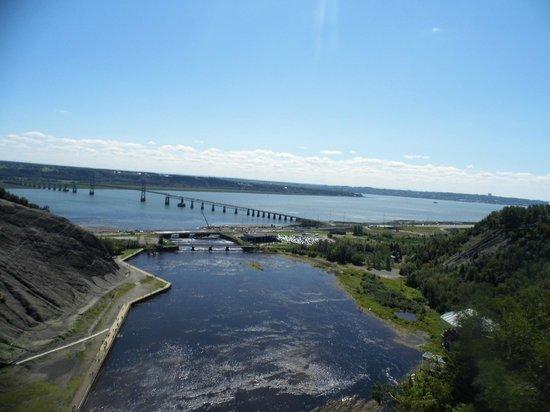 Montmorency Falls Park (Parc de la Chute-Montmorency): Ile D'Orleans and Quebec City in the background