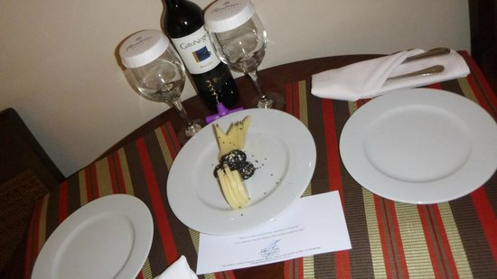 Paradisus Palma Real Golf & Spa Resort: left cheese and wine in our room as a surprise after a day at the beach!