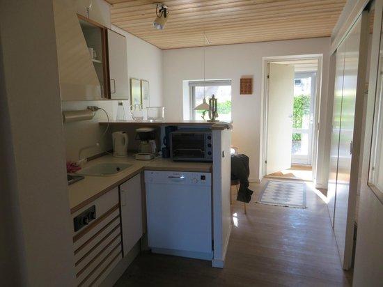 Hotel Vigen: Kitchen looking towards dining area