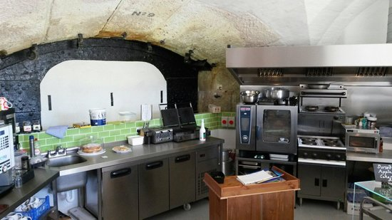 Nothe Fort: The spotless kitchen in the cafe