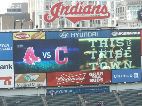Progressive Field : The scoreboard from our seats the first night