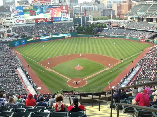 Progressive Field : Our seats the first night; Upper Reserved, Behind Home Plate