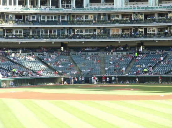 Progressive Field : Our seats the Second Night... Right next to the Indians bullpen
