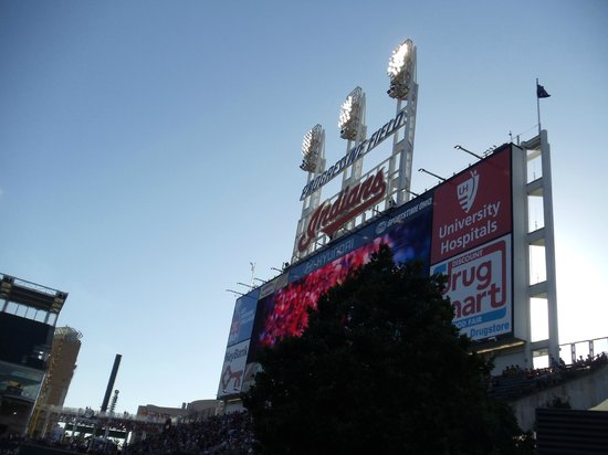 Progressive Field : Score Board from our seats the second Night... by the bullpen