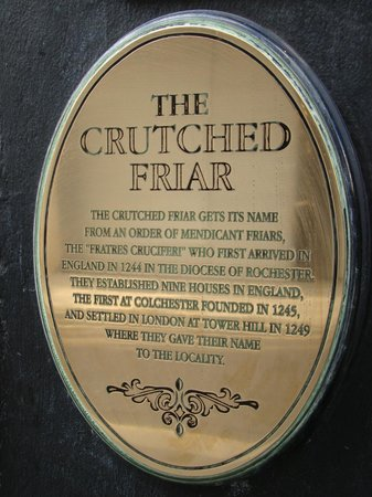 The Crutched Friar: Historical Information on sign out front