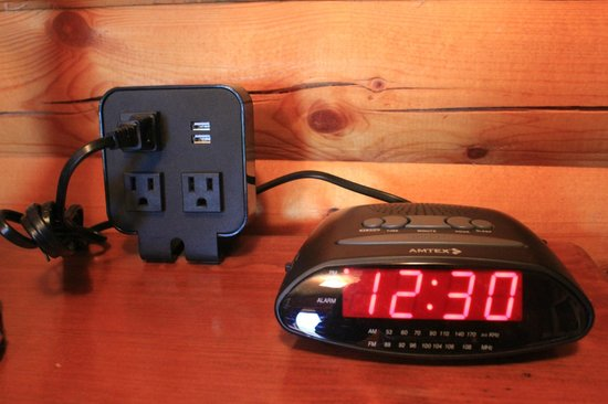 Denali Crow's Nest Cabins: USB ports, outlets, and an MP3 compatible alarm clock in every cabin.