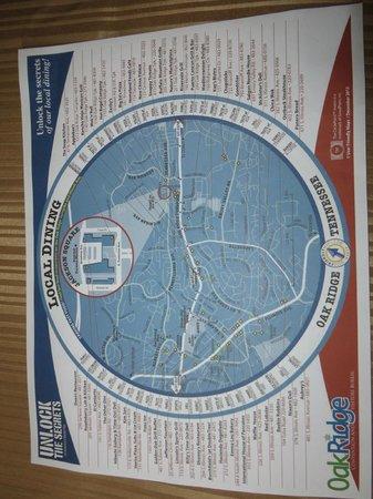 Quality Inn Oak Ridge: Map from front desk