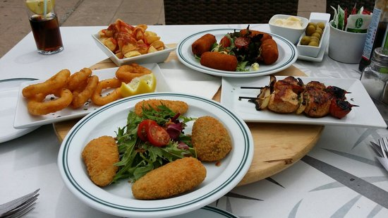 Chillax: Tapas of Calimari, Jamon Croquettes, Stuffed Jalapeños, Chicken Skewers & Patatas Bravas����
