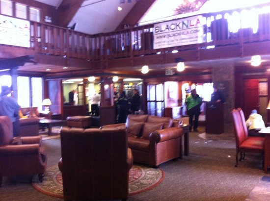 Mammoth Mountain Inn: Looking at Dry Creek from inside the lobby