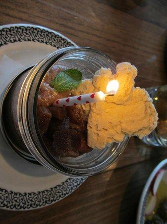The Hubb at Angeline's : pomegranate curd birthday dessert