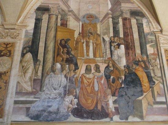 Abbazia di Monte Oliveto Maggiore: Frescoe of St Benedict Posthomously Conscreting Nuns