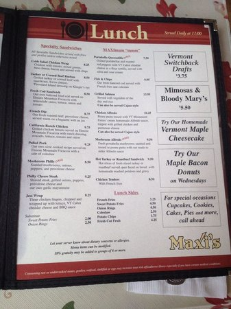 Maxi's Restaurant: menu