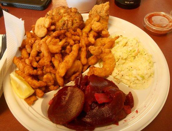 Beach to Bay Seafood: Seafood Combo #2 Jumbo Lump Crab Cake, Flounder, Clam Strips, 2 sides