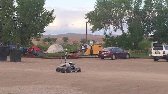 Duke's SlickRock Grill: Tent sites at the RV park.  Yes, that's a Mars rover.