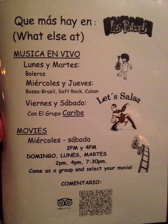 Las Palmas: Menu: Nightly Activities