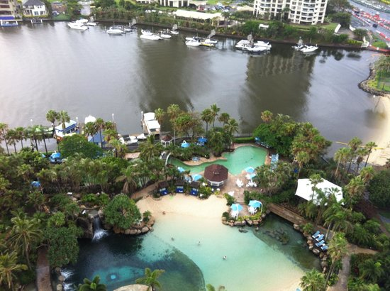 Surfers Paradise Marriott Resort & Spa: View to pools and beyond - Gold Coast