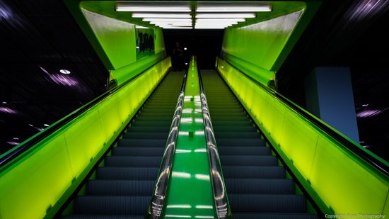 Seattle Public Library: Neon green escalators